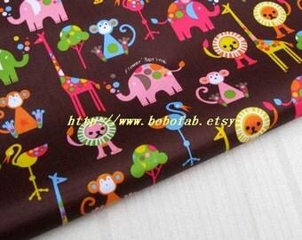"3125D  - 1 yard Vinyl Waterproof Fabric - Animal - Tiger elephant lion monkey (brown)  - 57""x36"""
