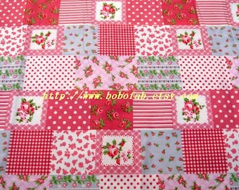 2003A - 1 meter cotton fabric  - Patch - rose / dot / strip - pink
