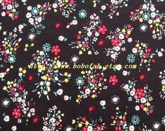 2012  - 1 meter Cotton fabric  - Small  Flowers on black