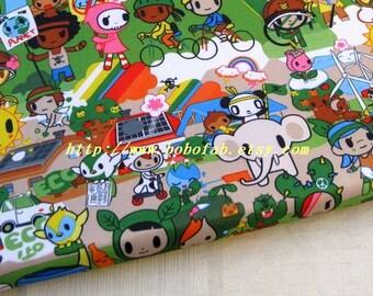 "3136B  - 1 yard Vinyl Waterproof Fabric - Cartoon - elephant baby car - green   - 57""x36"""