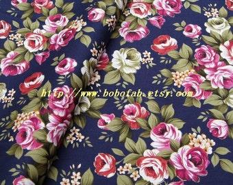 2014A  - 1 meter Cotton fabric  - Gilt bouquet  (Deep blue background)