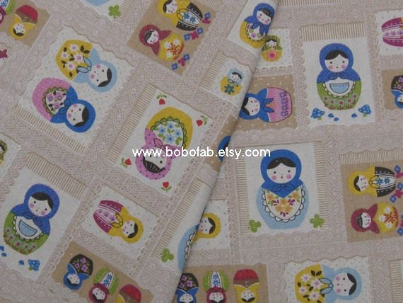 6008C- 1 yard Cotton Linen Fabric - Matryoshka Doll (Camel)