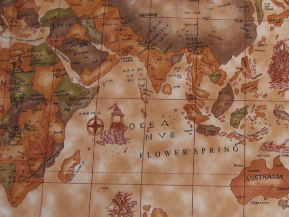 Items similar to 3060 1 yard vinyl waterproof fabric old world items similar to 3060 1 yard vinyl waterproof fabric old world map brown 57x36 on etsy sciox Choice Image