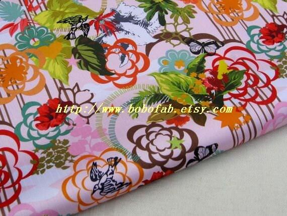 """3137A  - 1 yard Vinyl Waterproof Fabric  - beauty flower Swallow Butterfly (Pink)   - 57""""x36"""""""