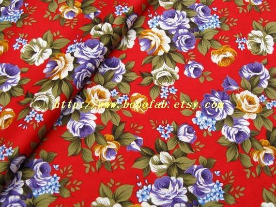 2014D  - 1DmeteC Cotton fabric  - Gilt bouquet  (Red background)