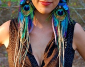 PIXIE JEWEL Long Feather Earrings RESERVED for Ana