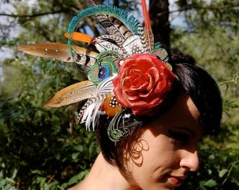 ROSE RED Feather Headdress