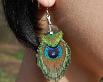 PETITE Peacock Feather Earrings