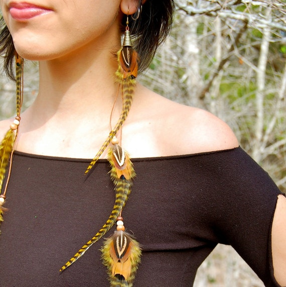EARTH MAIDEN Long Feather Earrings