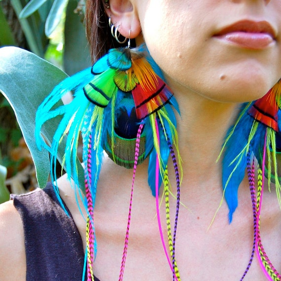 COLORFUL PIXIE Peacock Feather Earrings SALE
