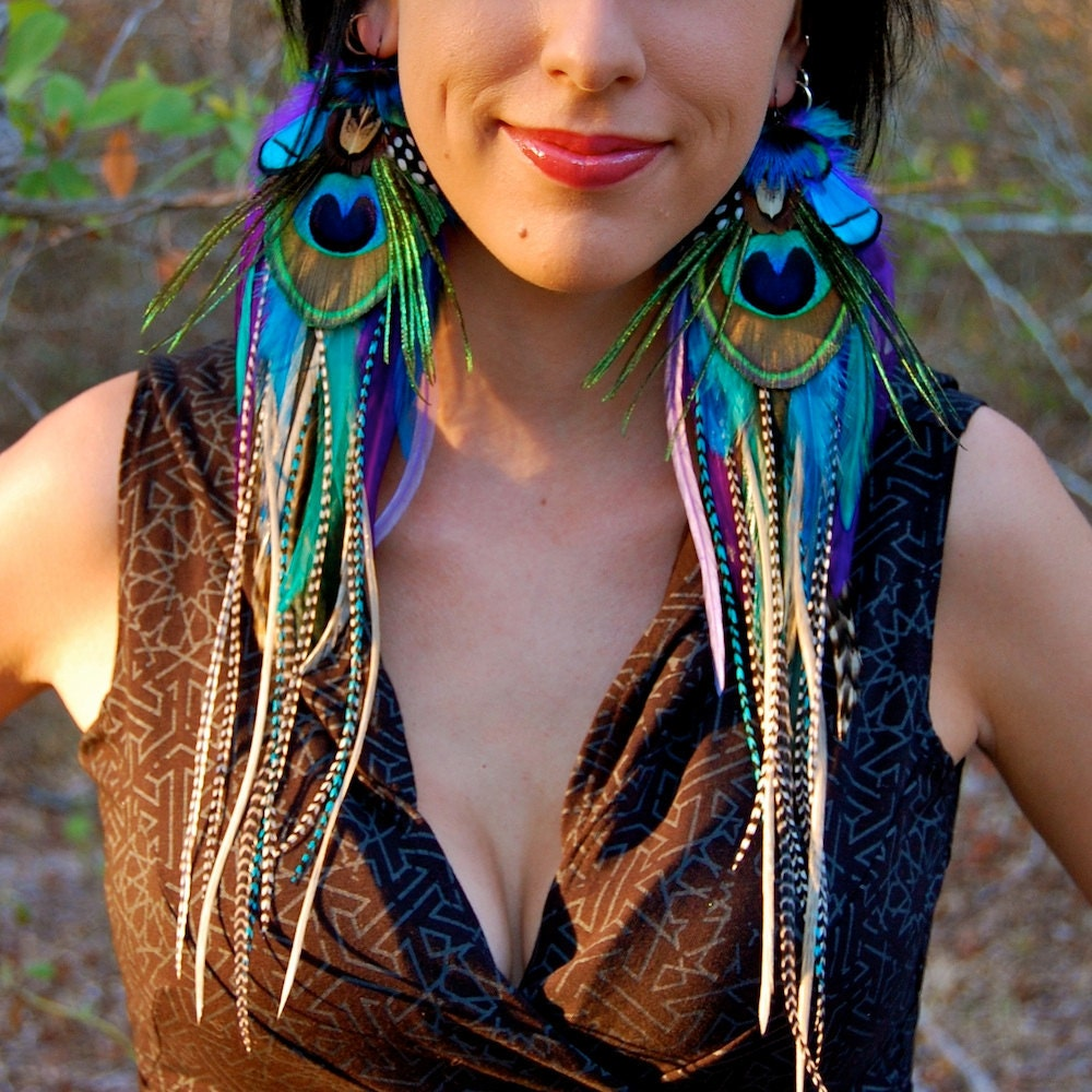 Feather Jewelry: PIXIE JEWEL Long Feather Earrings SALE