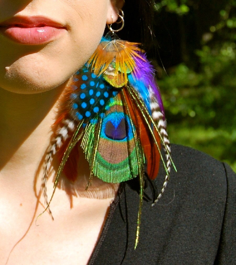 Feather Jewelry: GYPSY MAGICK Peacock Feather Earrings