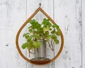 midcentury wooden plant holder / modern hanging candle holder