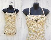 1950s bathing suit / 50s novelty print playsuit / Love Birds maillot