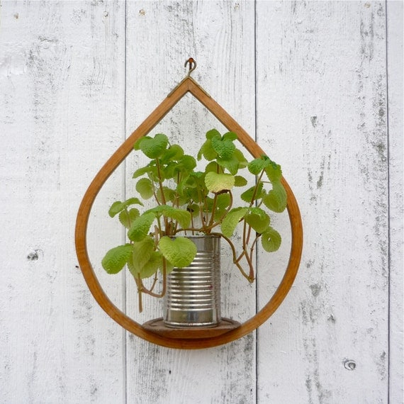 midcentury wooden plant holder / modern hanging candle holder