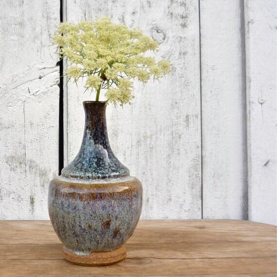 vintage blue glazed bud vase