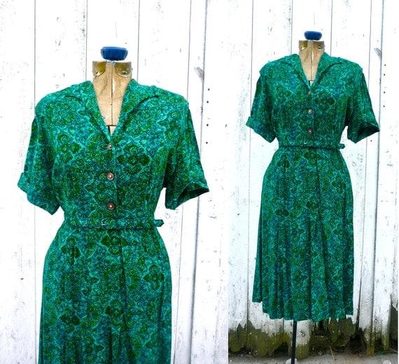 1940s dress / 50s print dress / Emerald Isles dress