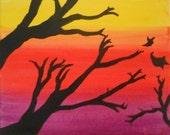 Fall's Last Breath, Original Oil Painting 8X10