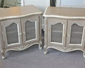 Pair of French Provincial Nightstands with Wire Doors