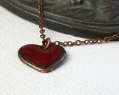 Steampunk Collection -- Copper Heart Charm Necklace -- Red glazed antique copper heart pendant with chain (free shipping)