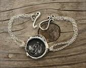 Handmade WAX SEAL Bracelet, Personalized Initial Pendent, Antiqued-Blackened, by Okrrah