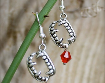 VAMPIRE, Twilight, Vampire Diaries, inspired Earrings, Handmade By Okrrah