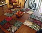 Rustic Rag Quilt Placemats - Country Quilts Western Primitives Table Linens