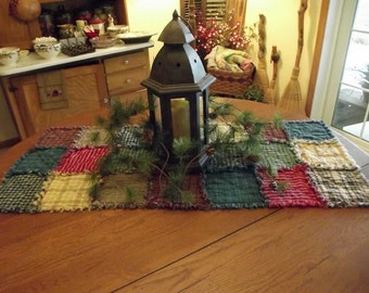 Rustic Rag Quilt Table Runners - Made to Order, Handmade, Farmhouse Decor, Hygge, Country Kitchen, Primitive Decor!