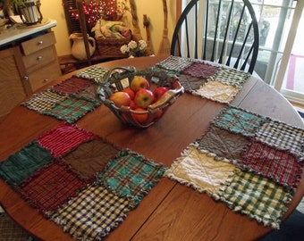 Rustic Rag Quilt Placemats - Handmade, Made-To-Order, Rustic Quilt, Western, Primitives, Table Linens