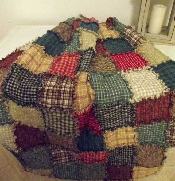Rustic Rag Quilt Queen Size Free Shipping