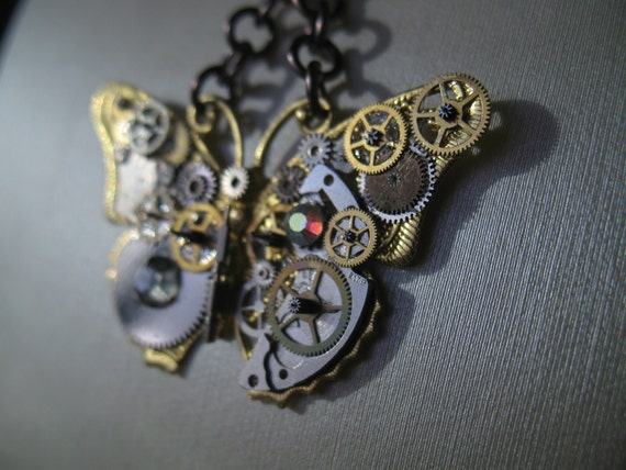 Steampunk Butterfly Pendant Antique cogs and crystals. OOAK