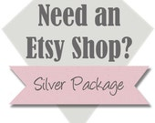 Custom Etsy Shop: Silver Package, 4 Piece Professional Shop Set - Includes Banner, Avatar, Custom Listing Graphic, and Thank You Graphic