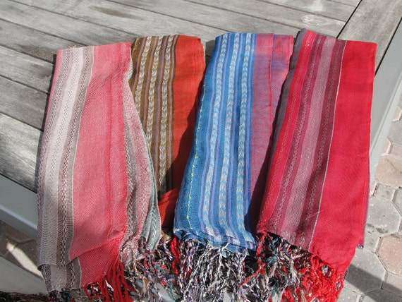 Colorful Indian Goa style woven scarves
