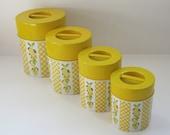 Kitchen Canister Set, Retro Yellow Lemons