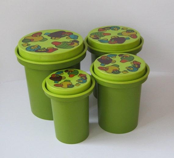 Kitchen Canister Set, Retro Plastic Avocado Green