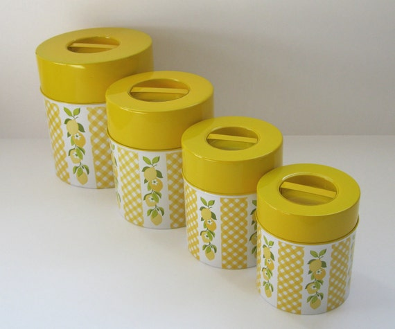 Kitchen canister set retro yellow lemons for Kitchen set yellow