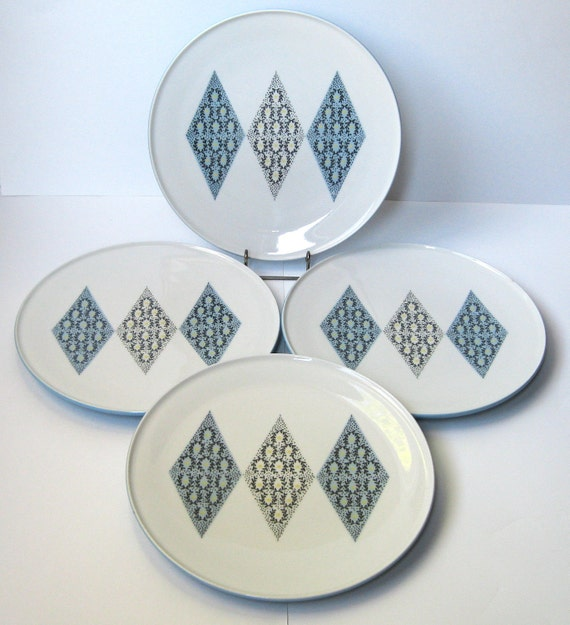 Ben Seibel Blue Diamonds Dinner Plates, Iroquois China, Set of 4
