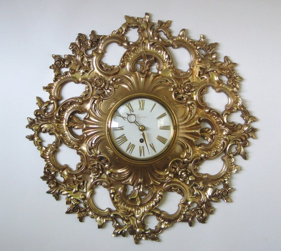 Vintage wall clock hollywood regency gold by for Hollywood regency wall decor