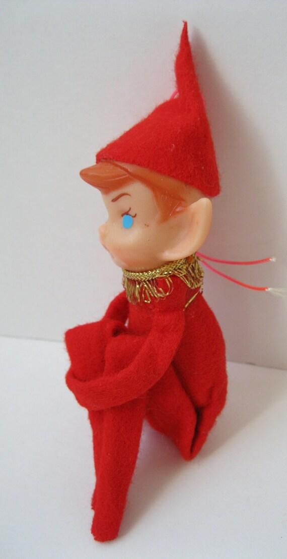 Vintage Knee Hugger, Pixie Elf Christmas Ornament, Retro Kitsch Christmas