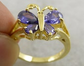 ADORABLE pUrPle lab Man Tanzanite BUTTERFLY Fancy Ring 14K Yellow Gold Bonded Size 8 Lady's Ring
