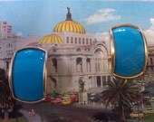 EIGHTIES  1980 s DYNASTY GIRL Turquoise and Golden Metal Wowie Zowie Earrings on Vintage Post Card with Post  Backs