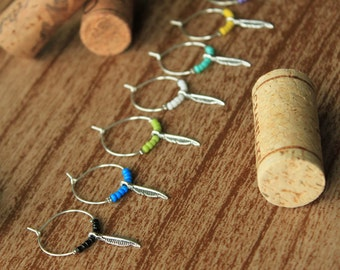Wine Charms - Feather charm with seed beads - 8 peice set