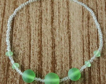 Green Glass Sea Beaded Necklace