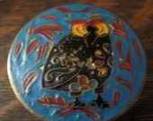 Vintage Brass Trinket/Pill Box with Black, Yellow & Red Owl on Turquoise Background