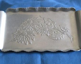 Vintage 40's Farber & Shlevin Hand Wrought Aluminum Poinsettia Tray