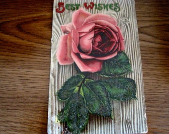 Antique Rose Best Wishes Postcard