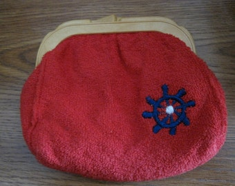 Cute Vintage RGA (Roger Gimbel Accessories) Red Terry Change Purse with Ship's Wheel