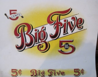 Vintage Big 5 Cigar Box Label