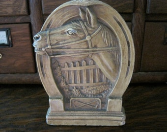 Vintage Horse Head in Horseshoe Syroco Bookend