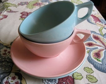 vintage Marcrest Melmac Cups & Saucers, Set of Two, Turquoise and Pink
